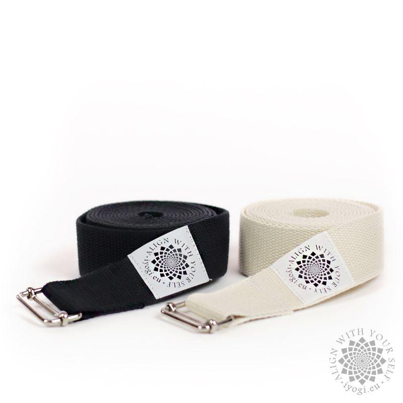 Cotton yoga belt, width 40 mm x 2,6 m black
