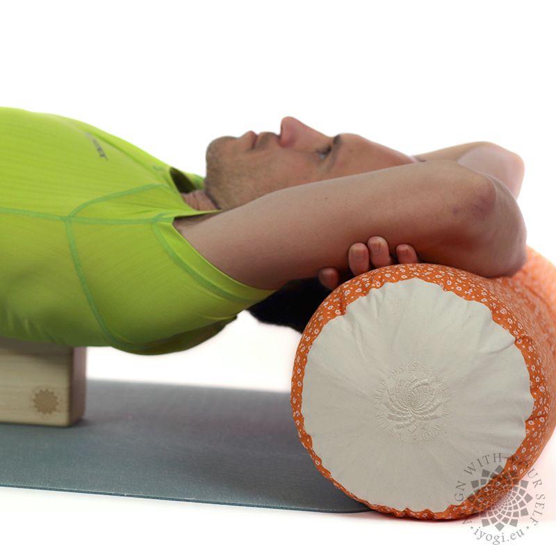 Wool Yoga Bolster - magenta flowers